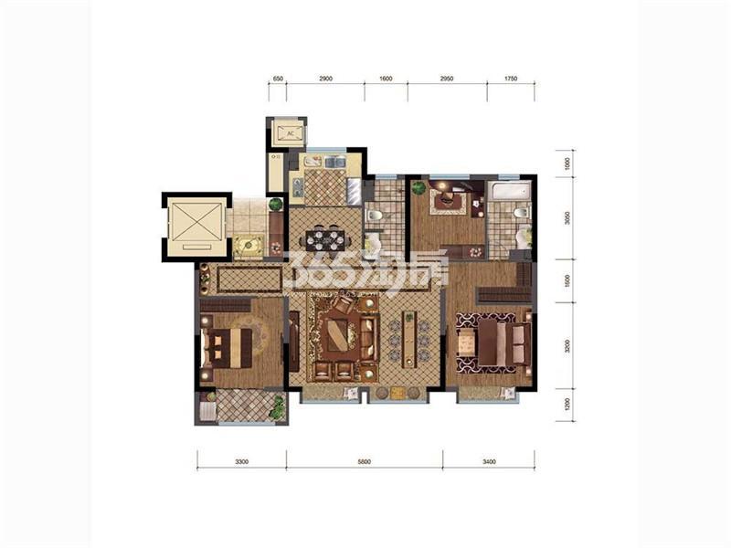 三居户型,3室2厅2卫,125平米