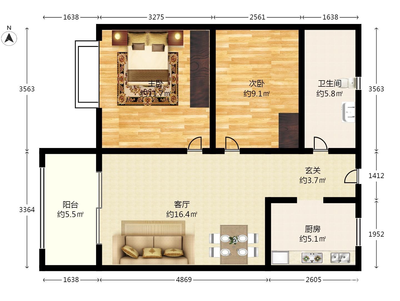 个人中海桃源里2室1厅1卫66.65㎡298万元