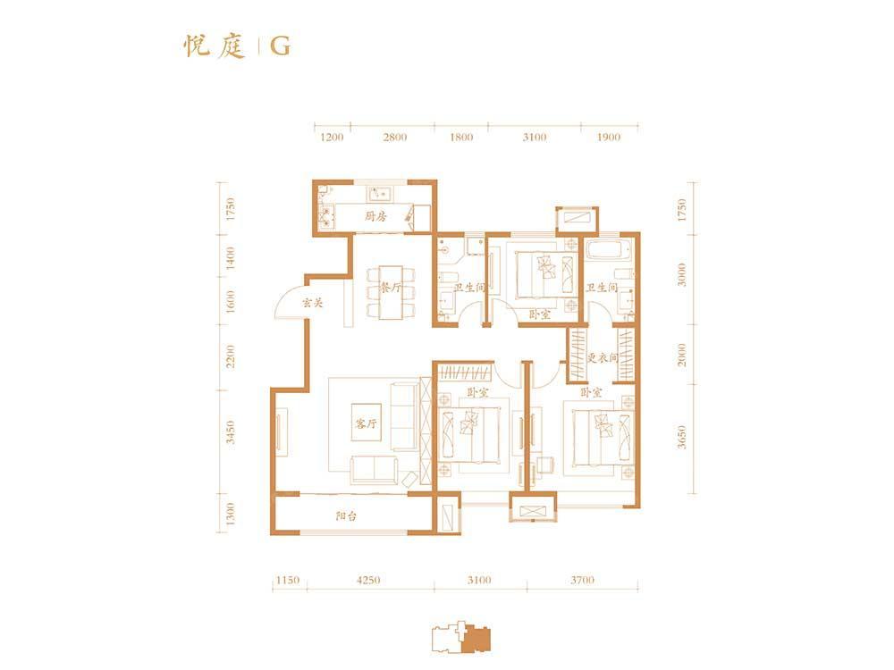 低密度多层G户型 3室2厅2卫 135平米