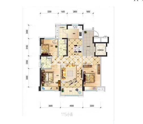 碧桂园凤凰城3室2厅2卫1厨小高层面积115㎡