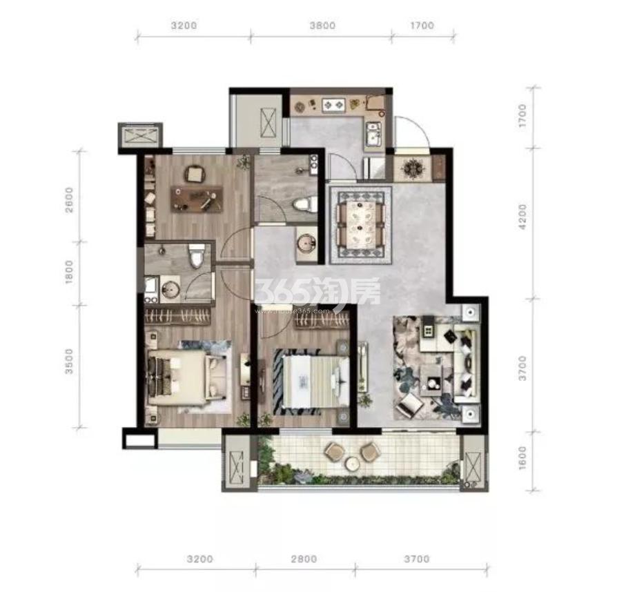 紫薇西棠项目105㎡三室两厅两卫户型图