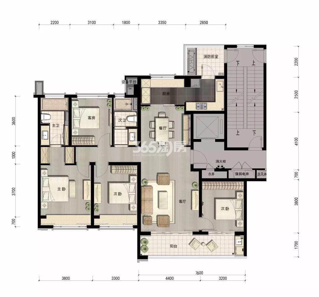 万科融信西雅图项目11号楼159方户型图