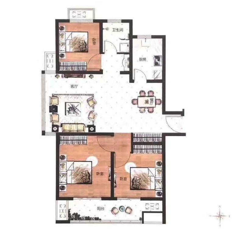 D户型建筑面积约114㎡三室两厅一卫