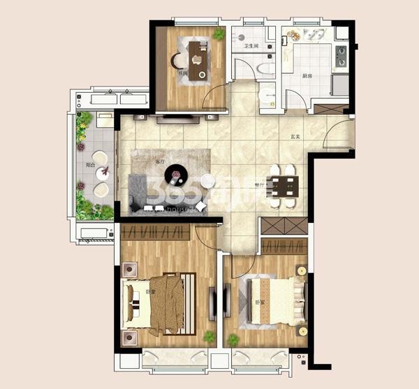 银城孔雀城依澜郡105㎡三房两厅一卫户型