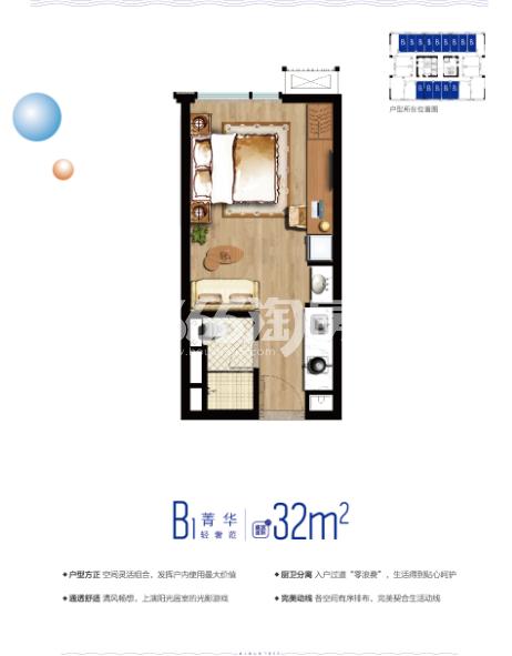 云树公馆32㎡平层户型图