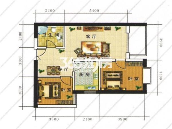 D:两室两厅一厨一卫 建筑面积:89.28㎡
