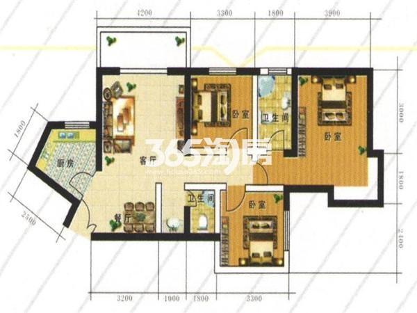 A户型:三室两厅一厨两卫 建筑面积115.88㎡
