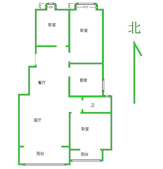 江宁区将军大道翠屏滟紫台2室2厅户型图