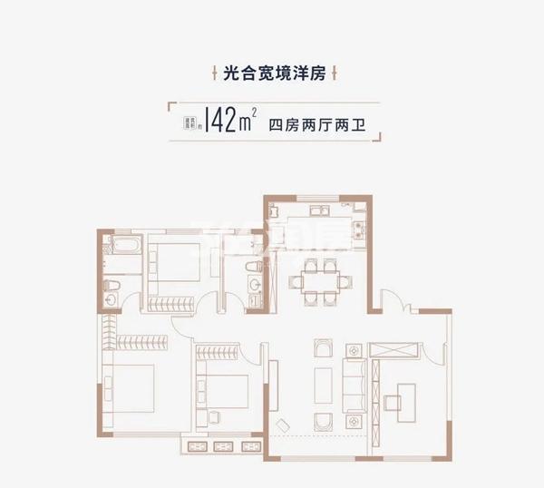 中海·寰宇天下项目户型图(建面约142㎡)
