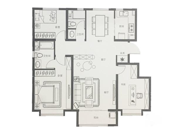 122平米三室两厅两卫