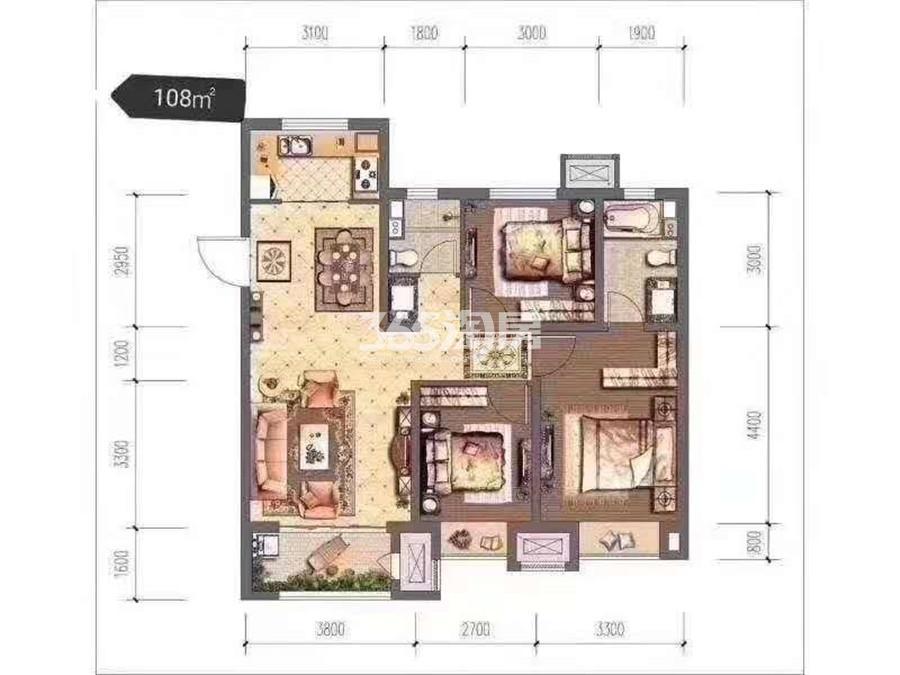 当代嘉宝公园悦108㎡三室两厅一厨两卫户型图