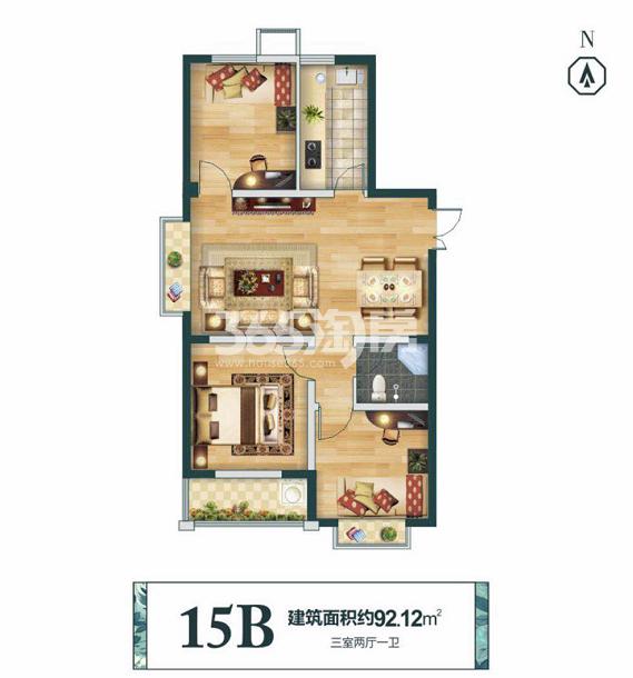 15B 建筑面积约92.12㎡ 三室两厅一卫