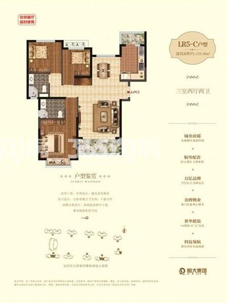 1#4#5#LR5-C 三室二厅二卫 124.48㎡