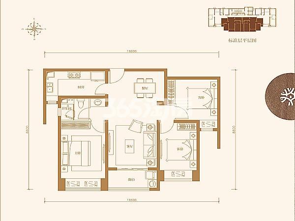 中南青樾三室两厅100㎡户型图