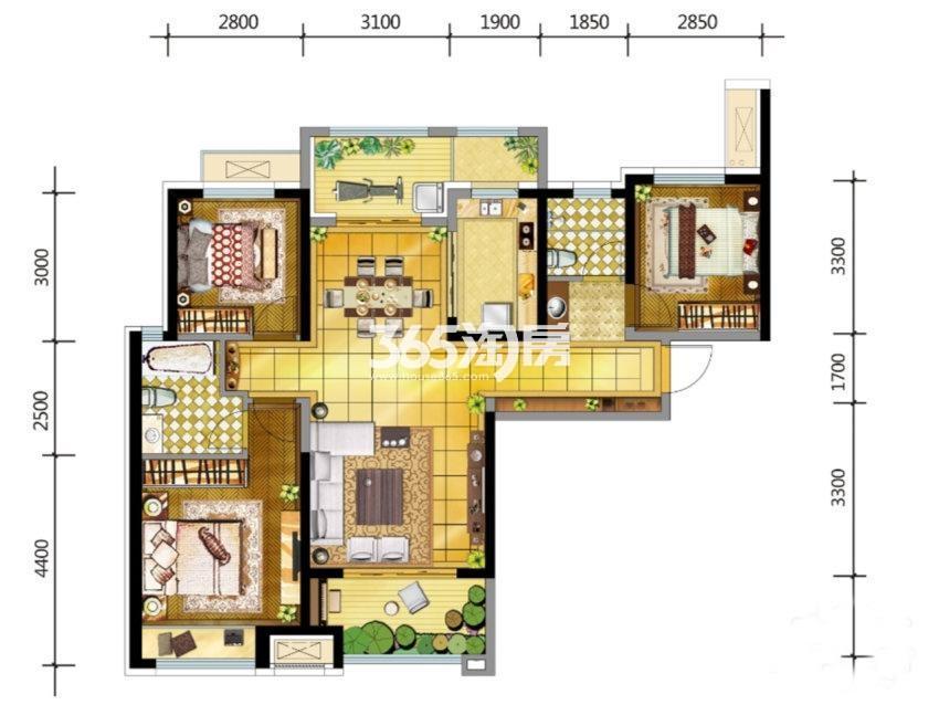 金地南湖艺境G户型3室2厅2卫1厨约115.00平米
