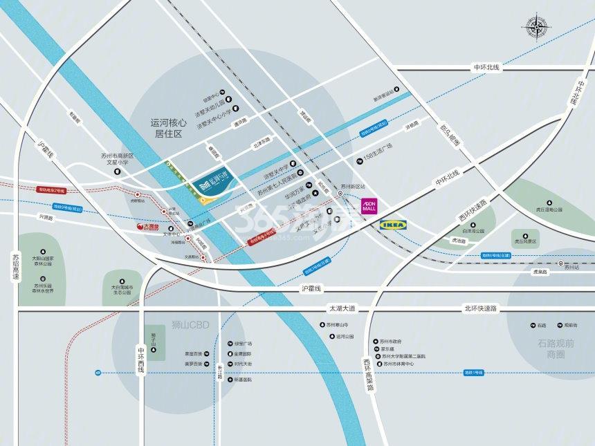 运河与岸交通图