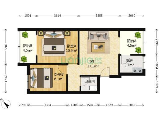 成都167宿舍2室1厅1卫64�O2000年满两年产权房简装