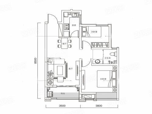 华远辰悦两室两厅一厨一卫75㎡户型图