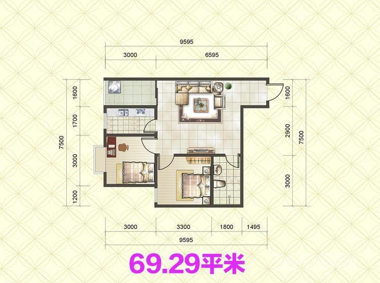 阳光80公寓2室1厅1卫67平米2014年产权房毛坯