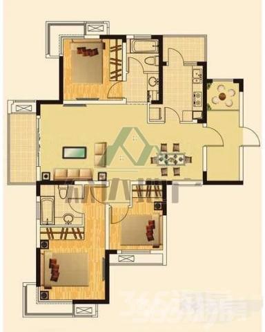 中央城 C区3室2厅2卫130平米整租简装