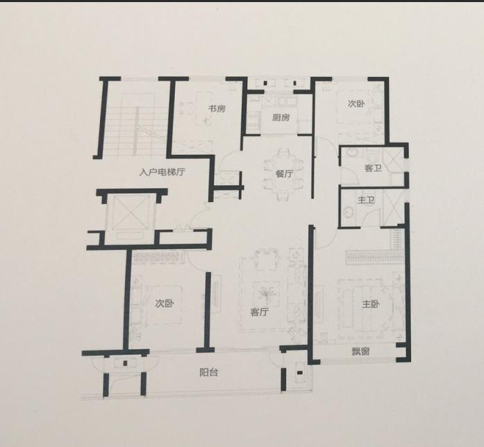 蓝城沁园136平四室两厅两卫户型图