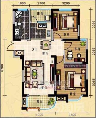 龙湖春天3室2厅1卫102平米整租简装