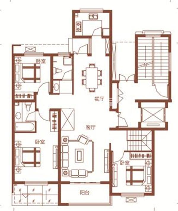 枫林学府D1-4户型 三室两厅两卫 182.41㎡