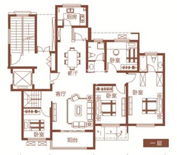 枫林学府D2-4户型 四室两厅两卫 195.86㎡