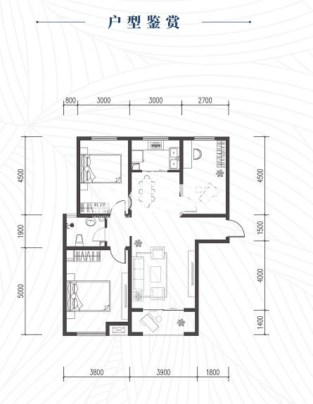 龙腾万都汇2#楼三室两厅一厨一卫115平方米户型图