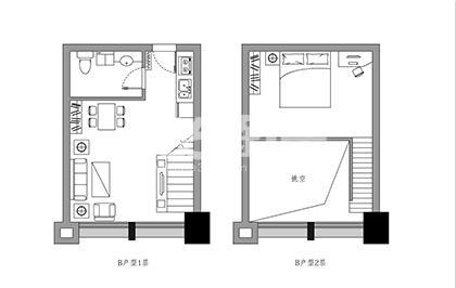 斯瑞天寓B户型33.72-37.77㎡平面