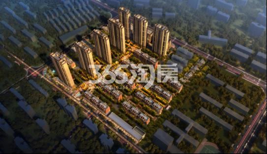 绿地理想城三期悦湖公馆鸟瞰效果图
