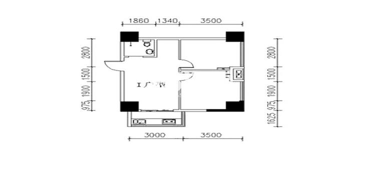 金叶新城I户型两室两厅一卫一厨74.83平