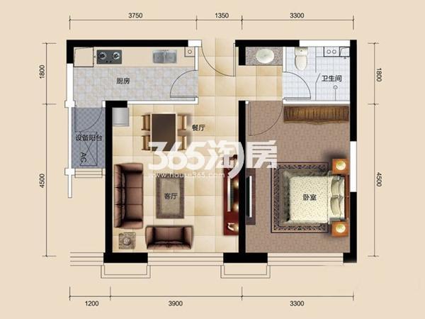 高层标准层D户型 1室2厅1卫 69平米