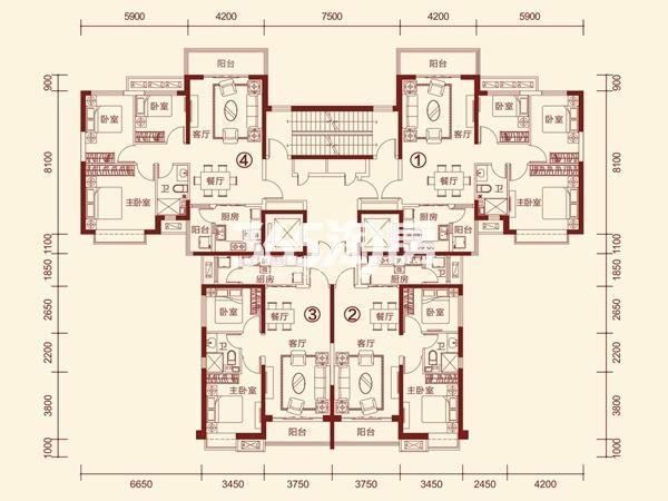 恒大绿洲(武威)4-1标准层(11-33层)户型图