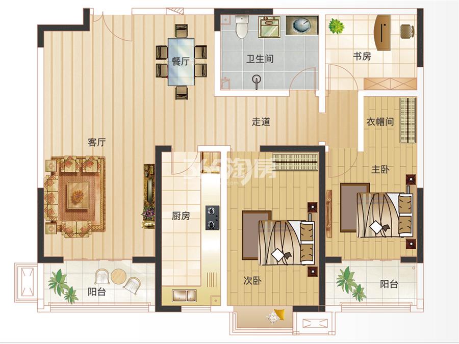 D3户型122.98㎡两室两厅一卫