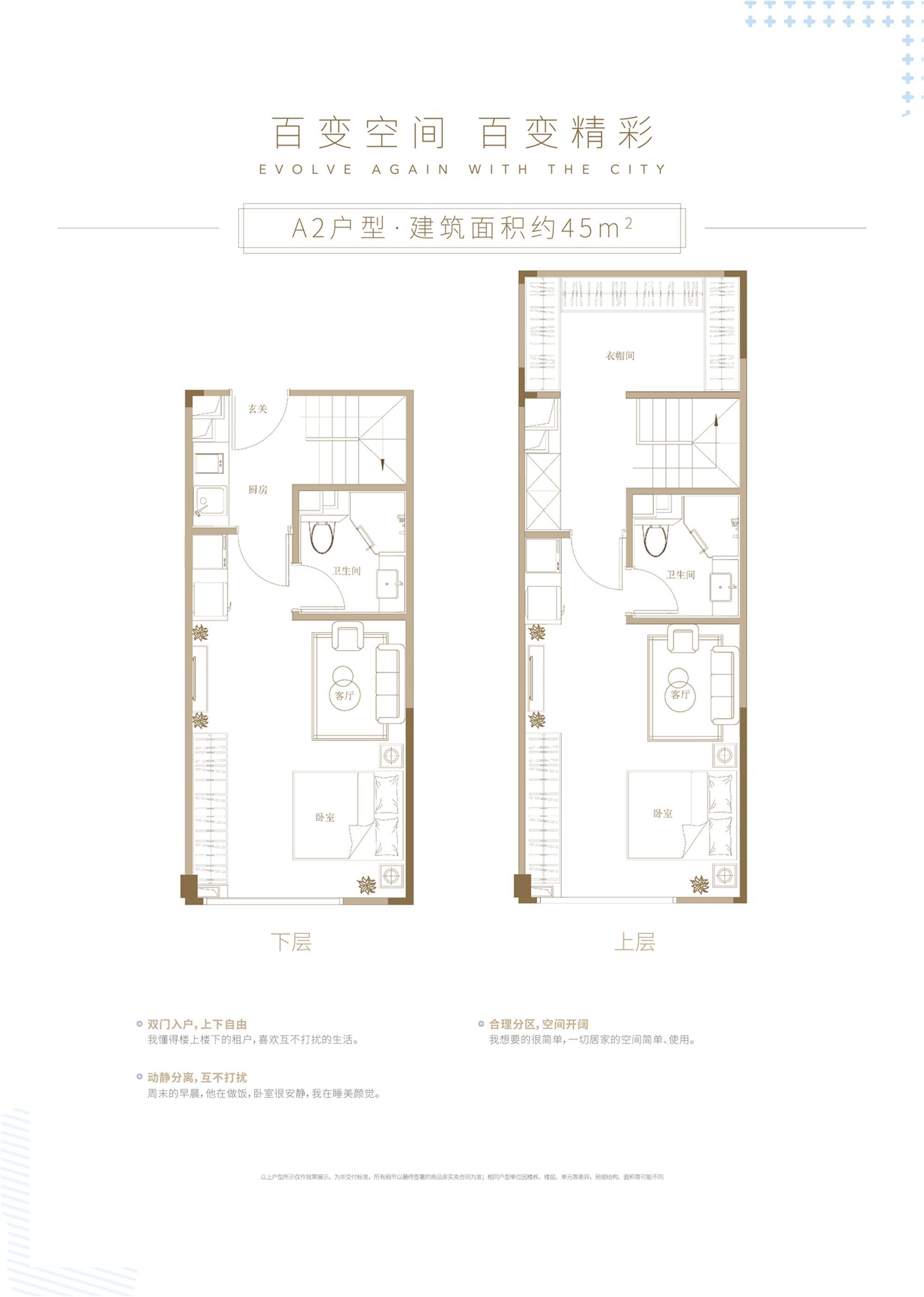 杭州世茂泰禾中央广场A2户型45方双钥匙设计