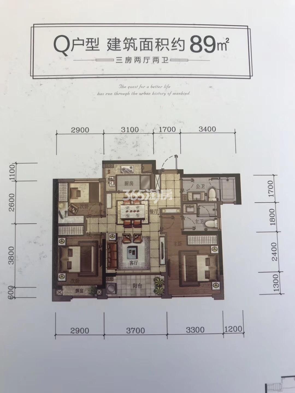 汇高栢悦中心项目9号楼Q户型89方户型图