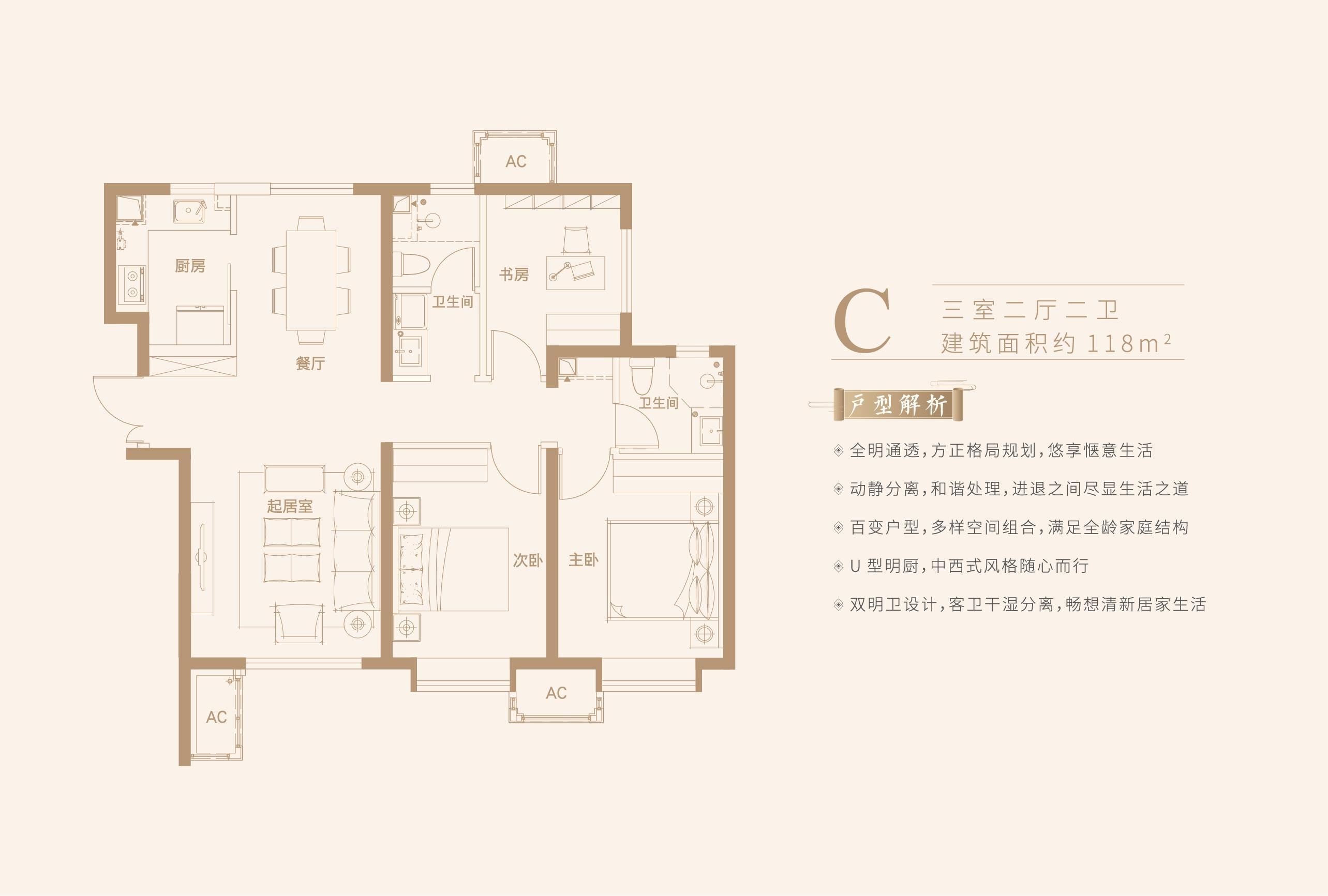 C户型 三室两厅两卫 118平米