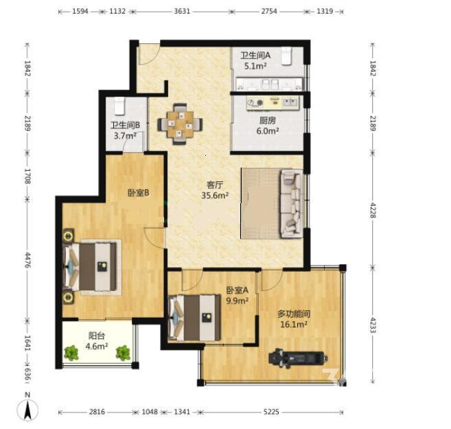 文化名园2室2厅2卫110.29平方产权房简装