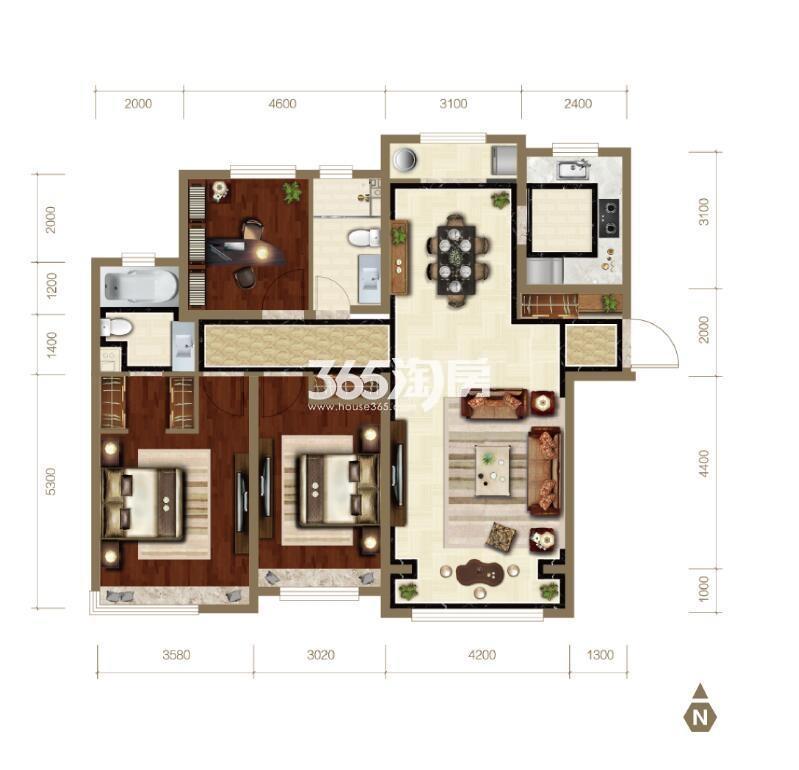 143平米三室两厅两卫