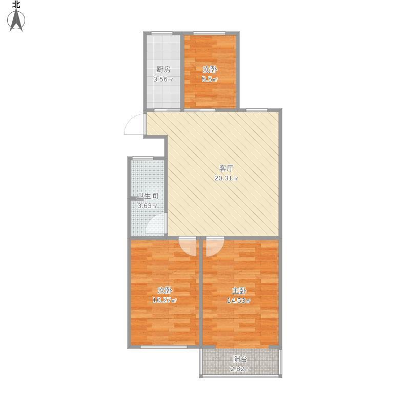 江宁区百家湖新城珑湾花园3室1厅户型图
