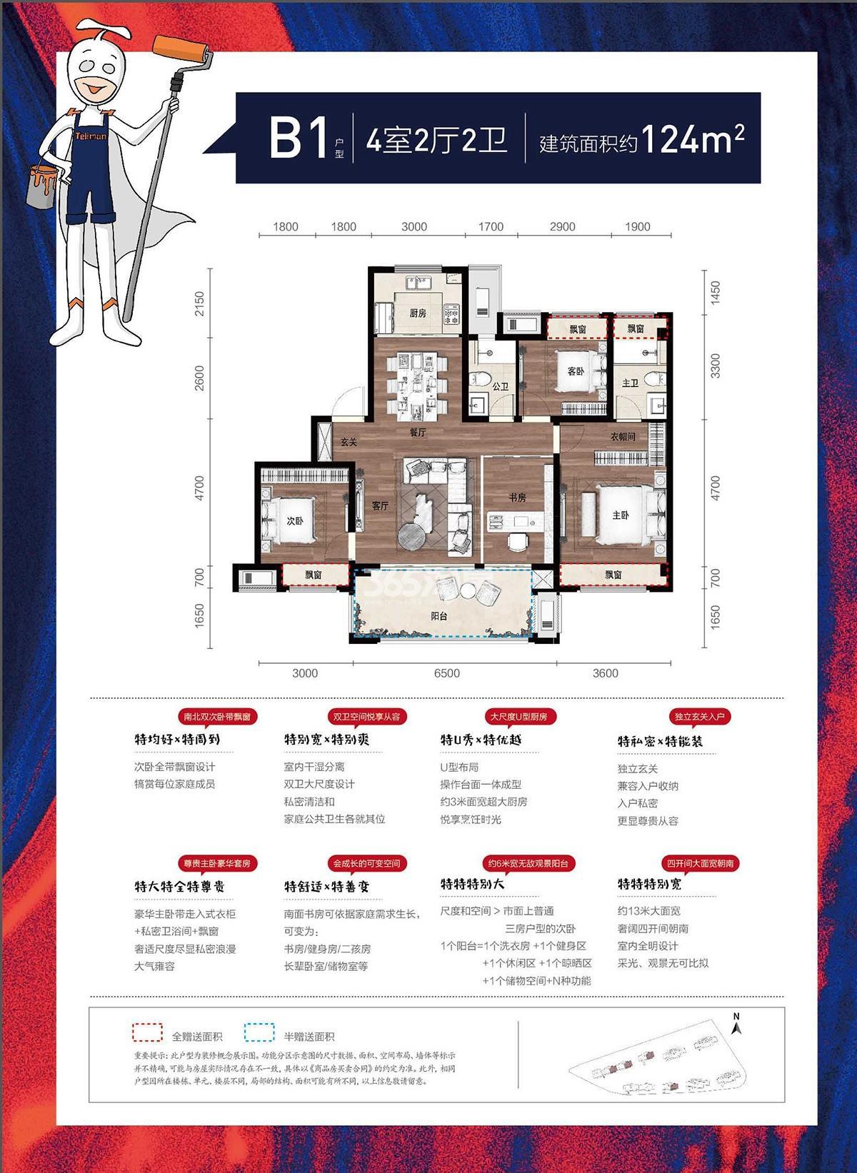 金辉贤林信步3、5、6号楼B1户型124方东边套