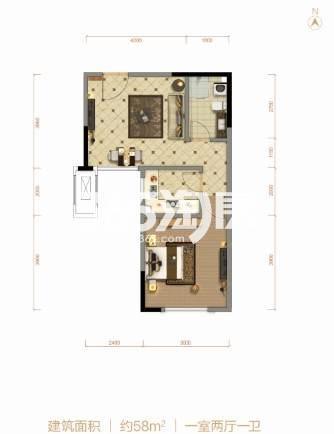 58平米 1室2厅1卫