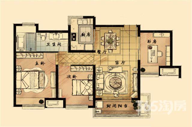 九龙仓时代上城3室2厅1卫98.42㎡2017年产权房毛坯