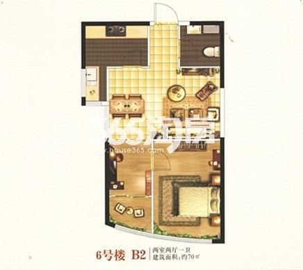 6号楼B2户型 两室两厅一卫 70㎡
