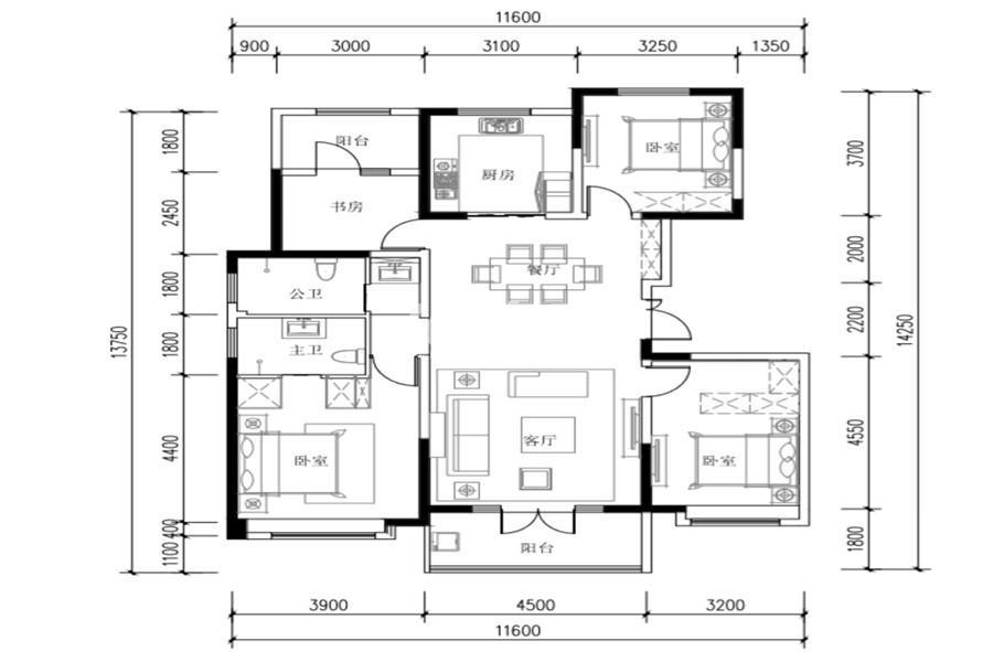 世园林语4室2厅2卫1厨143㎡户型图