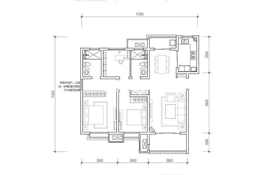 世茂璀璨倾城124㎡三室两厅两卫户型图
