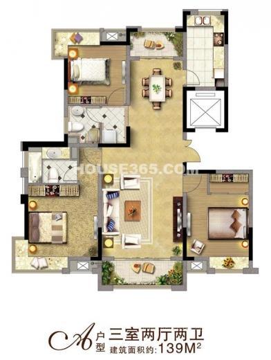 东城豪庭3室2厅2卫138平方产权房毛坯
