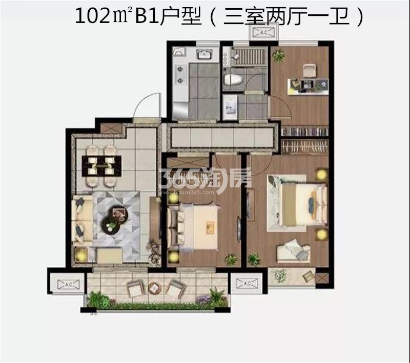 雲珑府102㎡三室B1户型图
