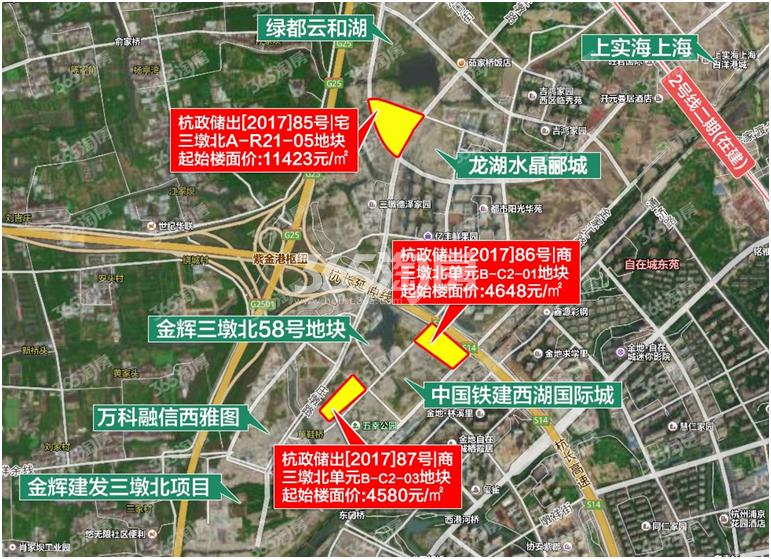 西投滨江三墩北87号商地交通区位图